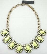 J.Crew Neon Yellow Faceted Stone Fringe Gold Tone Statement Bib Necklace NWT