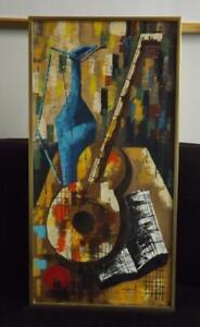 "Mid Century Modern Cassard Still Life Abstract Oil Painting Guitar 31"" x 16"""