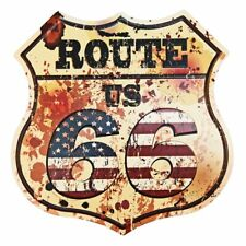 "Route US Road 66 Rustic Retro Tin Metal Sign 12"" x 12"""