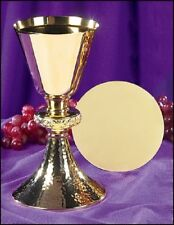 Ornate Node Chalice with Classic Hammered Brass Designed Base Comes With Paten