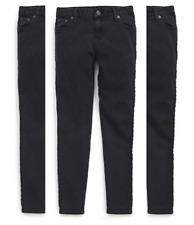 Ralph Lauren Girls' Jemma Tuxedo-Striped Jeans Pants, Black , Size 12,MSRP $59.5