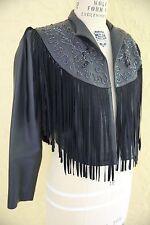 Vtg Black Leather Jacket Coat Southwestern Country Western Boho Fringe Beaded