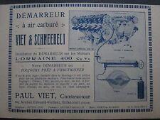 1924-25 PUB VIET DEMARREUR A AIR CARBURE SCHNEEBELI MOTEUR AVIATION LORRAINE AD
