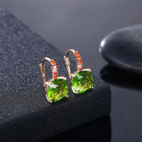PERIDOT EARRINGS~14 K YELLOW GOLD PLATED Made with Swarovski Crystals