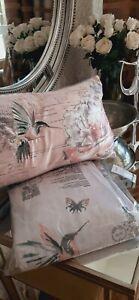Hummingbird print grey and blush double duvet set and boudoir