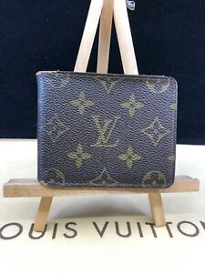 LV1793 Louis Vuitton Brown Monogram Canvas Leather Bifold Wallet  make offer Usa