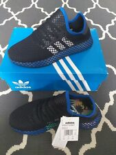 Adidas para hombre deerupt Entrenadores Zapatos Color Negro/Azul 7,8,9,10,11 Nuevo