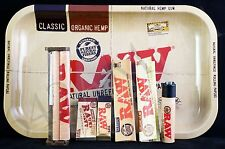 Authentic Raw Paper King Size Combo Tray Papers Tips Rolling Machine Lighter
