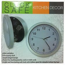 Clock Safe - silver-tone functioning wall clock with hidden space for valuables