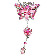 Pink w Swarovski Crystal Wedding Bride ~BUTTERFLY~ Flower Charm Pendant Necklace