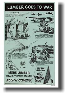 Lumber Goes to War - NEW WW2 Army Vintage Art Print  POSTER