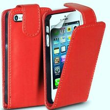 FUNDA CARCASA PIEL PARA IPHONE 5 ROJA+PROTECTOR PANTALLA CUERO CASE LEATHER