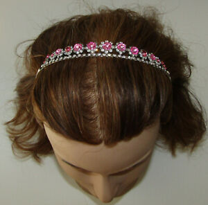 Headband Pink Crystals New Silver Tone Hair Accessory