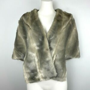 Eliza J Women's Faux Fur Short Cape Shawl Formal Gray Soft Vegan Size Large