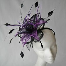 Black/Purple Feather Fascinator for Weddings, Races and Proms