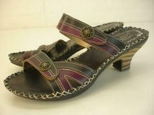 Women's 7.5 8 sz 38 L'Artiste by Spring Step Exotic Black Purple Leather Sandals