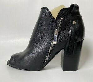 MARC FISHER Shoes Booties Black Leather Peep-Toe Size 8