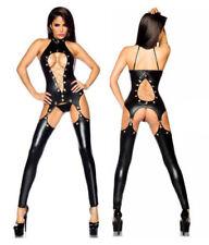 EXOTIC Sexy Lingerie Black PVC Wet Look Faux Leather Vinyl Jumpsuit Playsuit  M