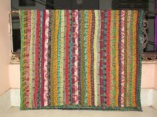 Vintage Ikat Silk Kantha Patchwork Handmade Bedspread Blanket King Size Throw 01