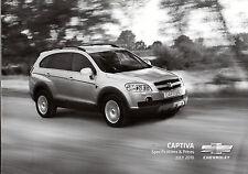 Chevrolet Captiva Specification 2010 UK Market Foldout Brochure 2.4 TD LS LT LTZ