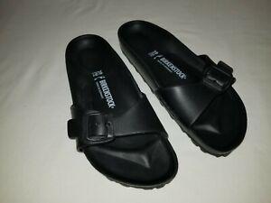 NEW Birkenstock Madrid EVA Black Single Strap Slides Women's Sandals Size 8