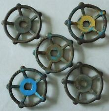 "FIVE 3 3/4"" VINTAGE STEAMPUNK CAST IRON WATER VALVE HANDLES"