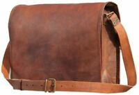 "18"" Original Leather Vintage Messenger Shoulder Men Satchel Laptop Briefcase Bag"