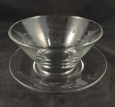 HERITAGE Princess House MAYONNAISE BOWL & UNDERPLATE Glass Gray Cut Floral Dish