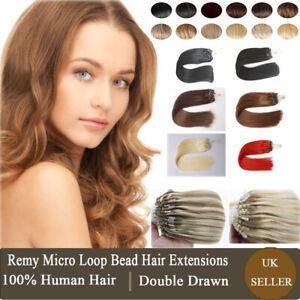 14''-24'' Thick Micro Loop Ring Remy 100% Human Hair Extensions Nano Beads 1G UK