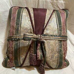 """CROSCILL 16"""" Square DECORATIVE Bed Throw PILLOW BOW Maroon Green Tan"""