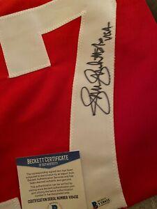 Jennie Finch Signed Custom Red Blue USA Jersey (XL) USA Insc Beckett BAS COA