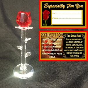 RED GLASS ROSE FLOWER GIFT BIRTHDAY ANNIVERSARY I LOVE YOU ESPECIALLY FOR YOU