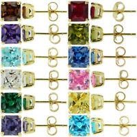 Sterling Silver 925 Yellow Gold Birthstone Stud Earrings Princess Cut CZ Womens