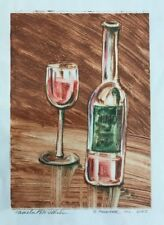 Original Pamela Wilhelm Oil Monoprint Or Mono-print Vino Wine Glass 1/1