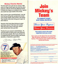(2) TWO JOIN MICKEY'S TEAM - 1995 Mickey Charles Mantle - Organ Donor Cards