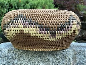 "Vintage 12"" Patterned Round Woven Rattan Basket"