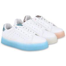 Damen Plateau Sneaker Glitzer Turnschuhe Metallic Freizeitschuhe 826514 Schuhe