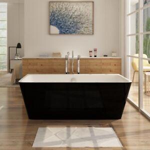 i-flair Freistehende Badewanne MALMÖ aus Acryl in Schwarz-Weiß –  2 Größen