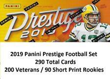 2019 PANINI PRESTIGE FOOTBALL SET - 290 TOTAL CARD - 200 VETERANS / 90 ROOKIES