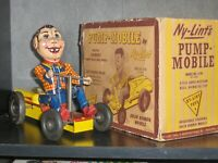 1950's US Made Nylint Howdy Doody Pumpmobile Tin Wind Up Go Kart Toy W/ Orig Box