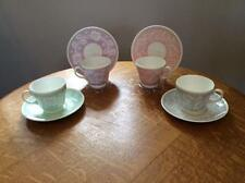 Wedgwood FOUR bone china pear shape cups and saucers brown mark AS IS