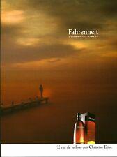 Publicité ancienne parfum eau de toilette Fahrenheit Christian Dior non parfumé