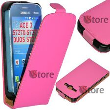 Case Flip for Samsung Galaxy Ace 3 S7270 S7275 S7272 Duos Eco Leather Fuchsia
