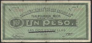 """Mexico, """"Las Dos Estrellas"""", 1 Peso, 1914."""