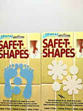 2 pkgs Bath Safe-T-Shapes White Daisy & Blue Feet Non Slip Safety Stickers