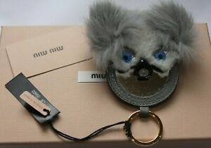 MIU MIU (Prada) Koala Bear Keyring / Key Chain MIRROR Bag Charm - Genuine Suede