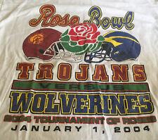 Camiseta Blanco de Hombre Rosa Cuenco Troyanos Wolverines 2004 Algodón Grande