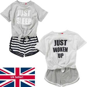 Cozy n Dozy Girls Long Short Pyjamas Just Sleep Woken Up Tie Top Striped Bottom