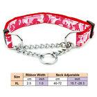 Large Dog Collar with Welded Link Chain Pet Nylon Slip Training Adjustable