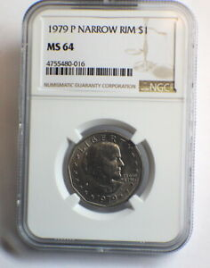 "NGC MS 64 1979 P $1 SUSAN B ANTHONY DOLLAR ""NARROW RIM"""